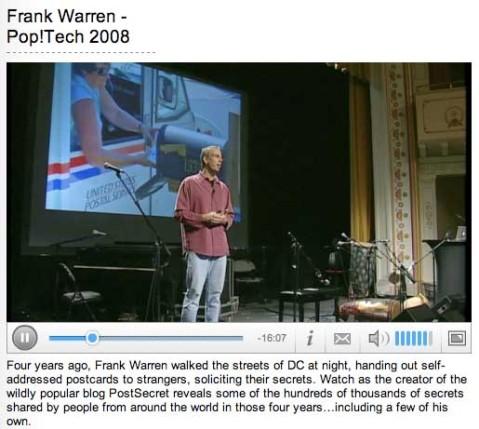 palestra do Frank Warren - Post Secret